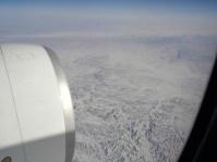 Crossing the Gobi Desert, over China.
