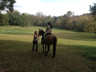 Callie giving Tang her first riding lesson.