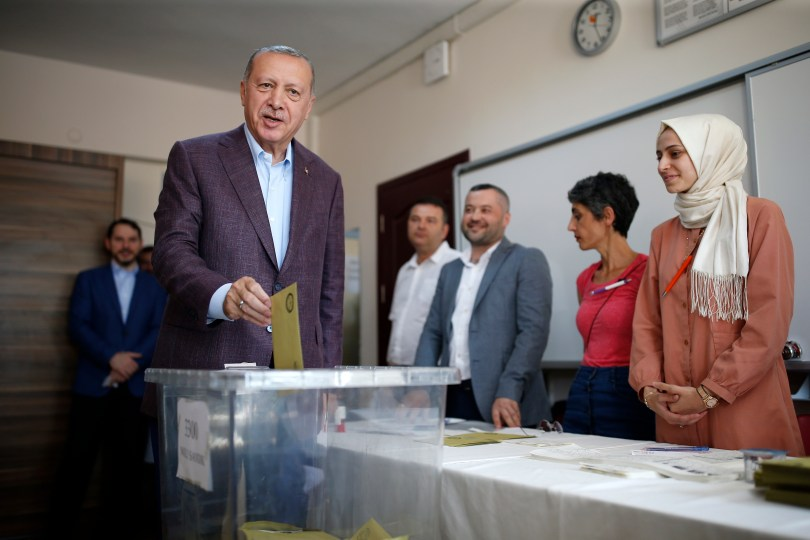 Turkey's President Recep Tayyip Erdogan casts his ballot at a polling station in Istanbul, June 23, 2019.