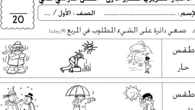 اختبار قصير علوم الصف الاول الفصل الثاني ملف اصلي