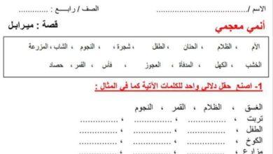 Photo of ورق عمل قصة ميرابل لغة عربية صف رابع فصل ثالث