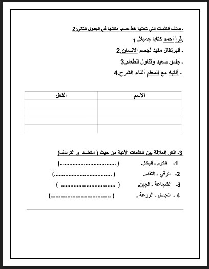 أوراق عمل مراجعة لغة عربية للصف الثالث