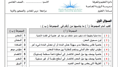 Photo of مراجعة درس الصخور والمعادن علوم صف خامس فصل ثاني