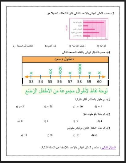 ورق عمل التمثيلات البيانية 3 رياضيات الصف الثالث