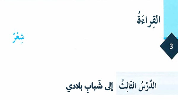 حل درس إلى شباب بلادي لغة عربية صف ثامن فصل أول