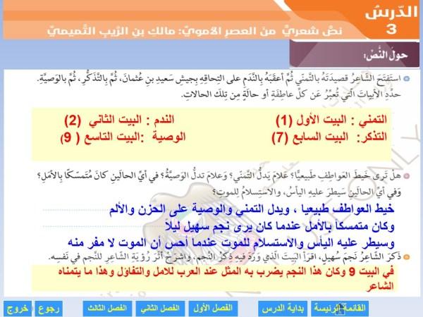 حل درس مالك بن الريب لغة عربية صف حادي عشر متقدم فصل أول مدرستي الامارتية