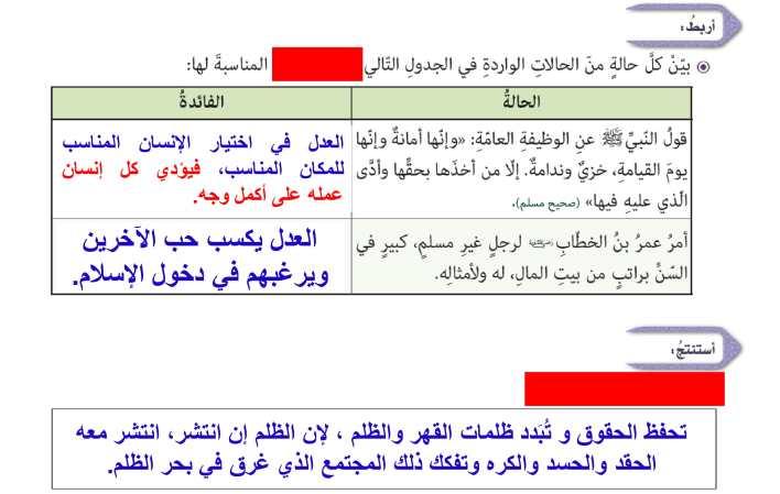 حل درس العدل في الإسلام