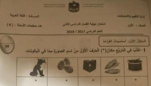 امتحان نهاية الفصل الثاني 2018 لغة عربية صف أول