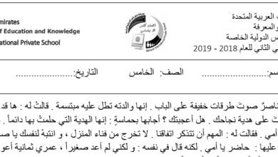 Photo of صف خامس فصل ثاني ورق عمل درس أنا حر لغة عربية