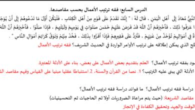 Photo of صف ثاني عشر فصل ثاني تربية إسلامية ورق عمل فقه ترتيب الأعمال