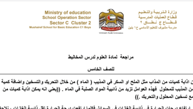 Photo of صف سادس فصل ثاني علوم مراجعة المخاليط