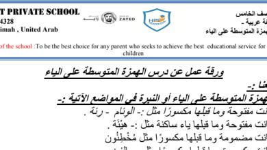 Photo of ورق عمل الهمزة المتوسطة على ياء لغة عربية صف خامس فصل ثاني