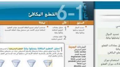 Photo of صف حادي عشر متقدم فصل ثاني دليل رياضيات القطع المكافئ