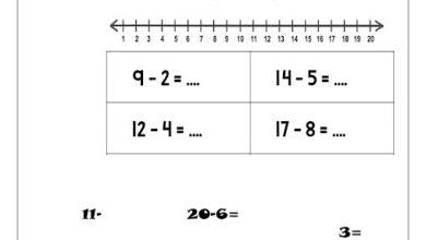 Photo of أوراق عمل الطرح بخط الاعداد رياضيات صف أول فصل ثاني