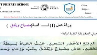 Photo of صف ثالث فصل ثاني ورق عمل لغة عربية درس مصباح وبندق محلول