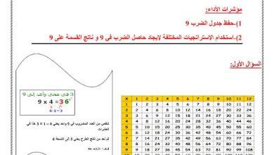 Photo of صف ثالث فصل ثاني أوراق عمل رياضيات الضرب والقسمة على 9