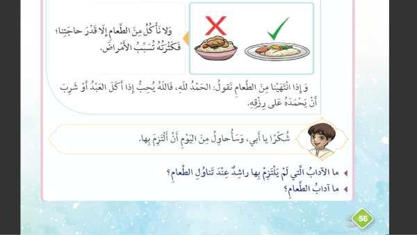 حل درس آداب الطعام