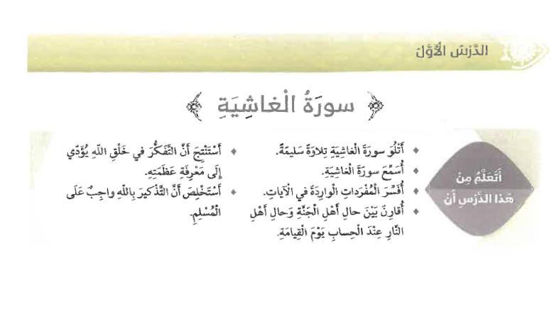 حل درس سورة الغاشية تربية إسلامية الصف رابع الفصل الثاني