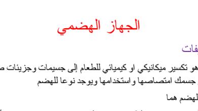 Photo of صف ثامن فصل ثاني تلخيص علوم درس الجهاز الهضمي
