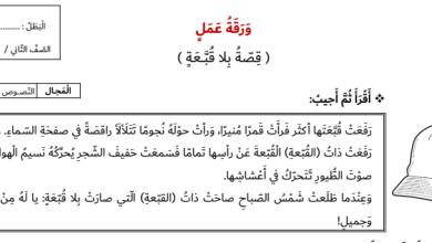 Photo of صف ثاني فصل ثاني ورق عمل اللغة العربية درس قصة بلا قبعة