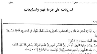 Photo of صف ثاني فصل ثاني اللغة العربية أوراق عمل فهم واستيعاب