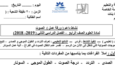 Photo of ورقة عمل درس الصوت علوم صف رابع فصل ثاني