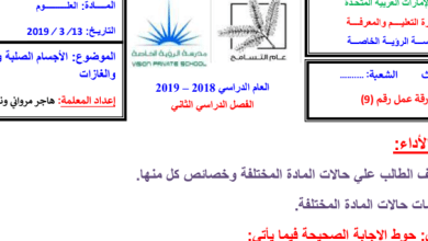 Photo of أوراق عمل الأجسام الصلبة والسوائل والغازات علوم صف ثالث فصل ثاني
