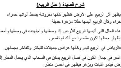 Photo of حل درس شرح قصيدة حلل الربيع لغة عربية صف عاشرفصل ثاني