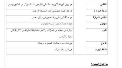 Photo of صف ثالث فصل ثاني ورق عمل علوم التغيرات فى الطقس