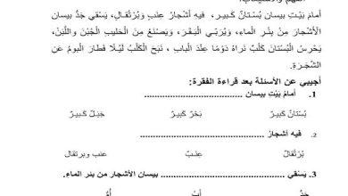 Photo of صف أول فصل ثاني لغة عربية ورق عمل فهم واستيعاب