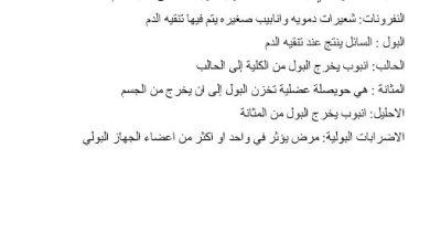 Photo of ملخص الجهاز الإخراجي علوم صف ثامن فصل ثاني