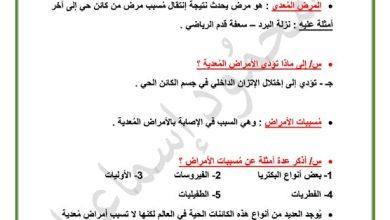 Photo of صف حادي عشر فصل ثاني تلخيص أحياء الأمراض المعدية