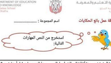 Photo of ورقة عمل بائع الحكايات لغة عربية صف ثالث فصل ثالث
