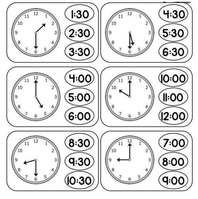 ورق عمل قراءة الساعة