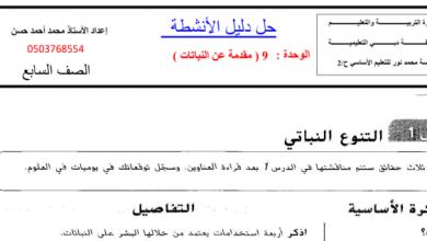 Photo of صف سابع فصل ثالث حلول علوم دليل الأنشطة الوحدة التاسعة