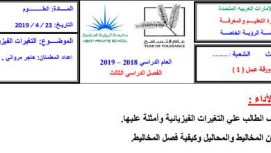 Photo of أوراق عمل التغيرات الفيزيائية علوم صف ثالث فصل ثالث
