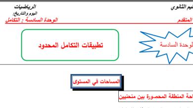 Photo of مراجعة الوحدة السادسة التكامل رياضيات صف ثاني عشر متقدم فصل ثالث