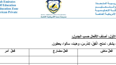 Photo of مراجعة نحو لغة عربية صف أول فصل ثالث