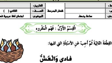 Photo of أوراق عمل فهم المقروء لغة عربية (قصة فادي والعش) صف ثاني فصل ثالث