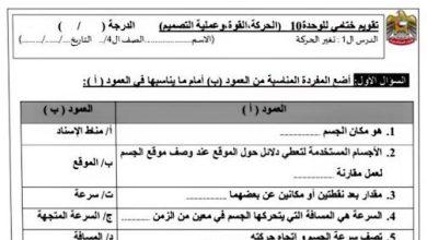 Photo of تقويم ختامي للوحدة العاشرة علوم صف رابع فصل ثالث