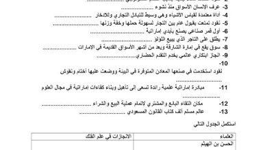 Photo of أوراق عمل درس الأسواق وعلم الفلك دراسات اجتماعية صف خامس فصل ثالث
