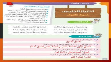 Photo of حل درس اختيار الجليس حديث شريف تربية إسلامية صف سادس فصل ثالث