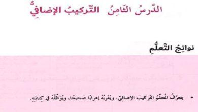 Photo of حل درس التركيب الإضافي كتاب الطالب لغة عربية صف ثامن فصل ثالث
