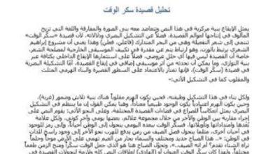 Photo of صف ثاني عشر فصل ثالث مادة العربي تحليل قصيدة سكر الوقت