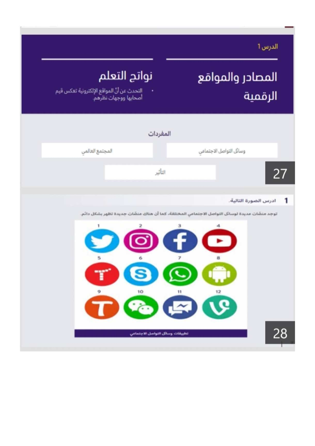 درس المصادر والمواقع الرقمية مع الاجابات تربية أخلاقية