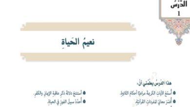 Photo of حل درس نعيم الحياة تربية إسلامية الصف السابع الفصل الثالث
