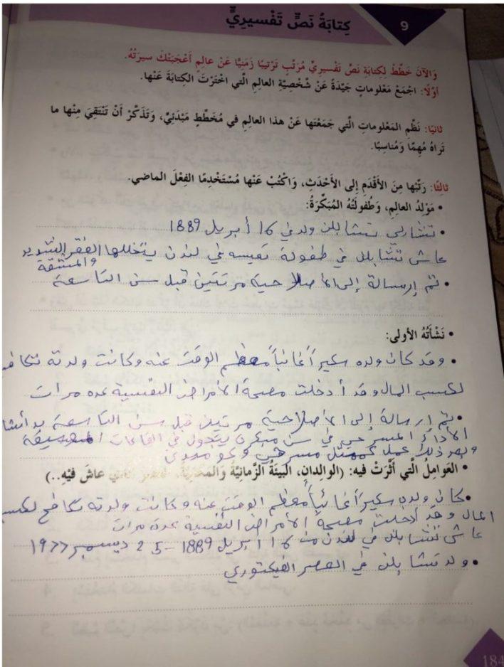 حل كتابة نص تفسيري معلومات عن شخصية لغة عربية سادس