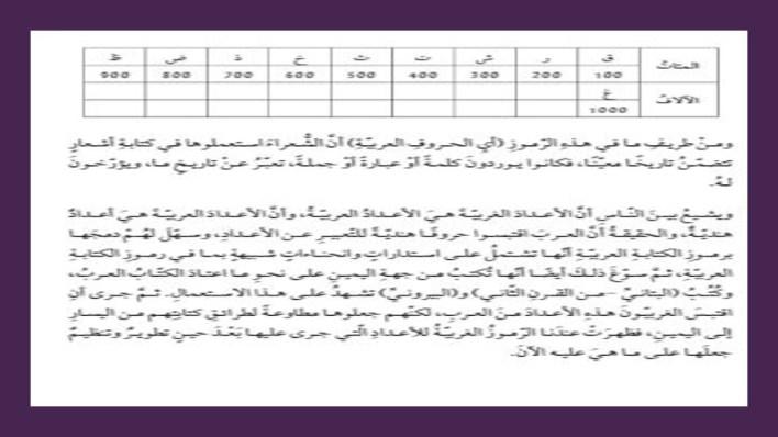 درس تاريخ الاعداد مع الاجابات لغة عربية