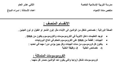Photo of ملخص مندل والانقسام المنصف أحياء صف ثاني عشر عام فصل ثالث