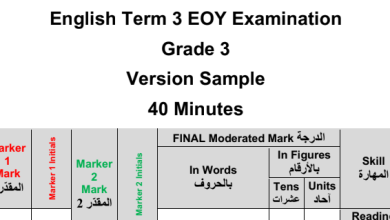Photo of نموذج امتحان لغة إنجليزية صف ثالث فصل ثالث